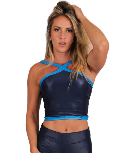 Top Cropped Eletric Shapes - Azul