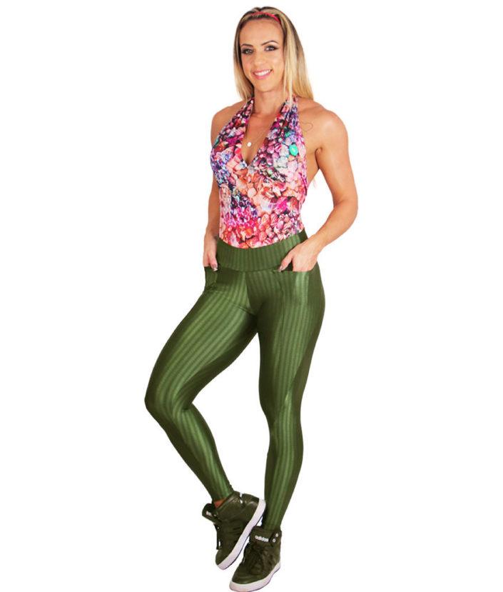 Calça Legging Cirre Verde Militar Anatomic Pocket