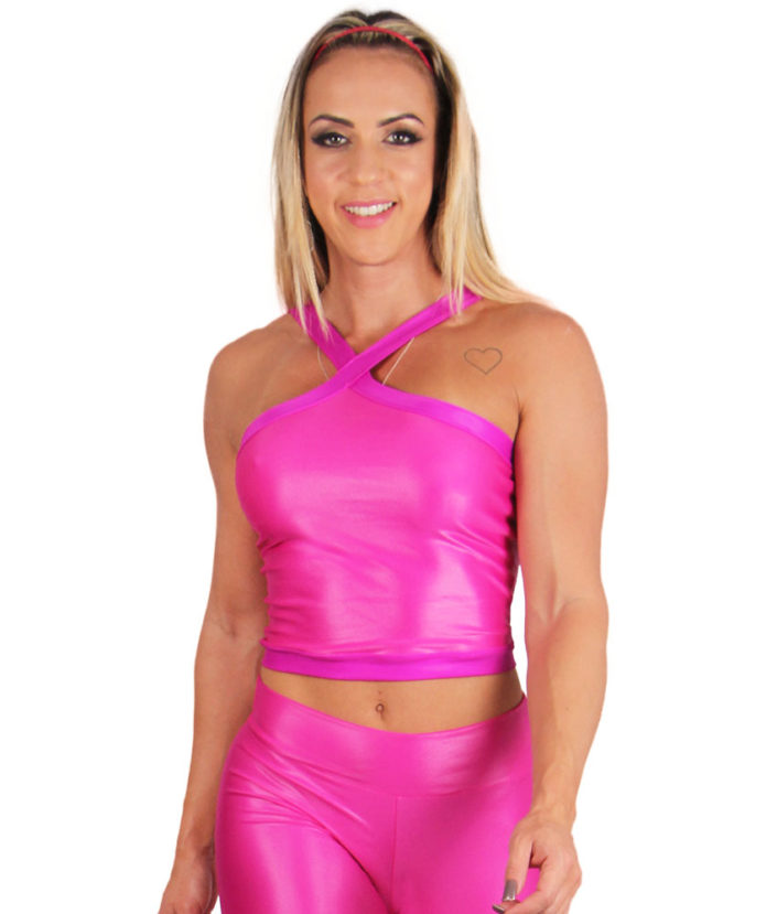 Top Cropped Eletric Shapes Pink