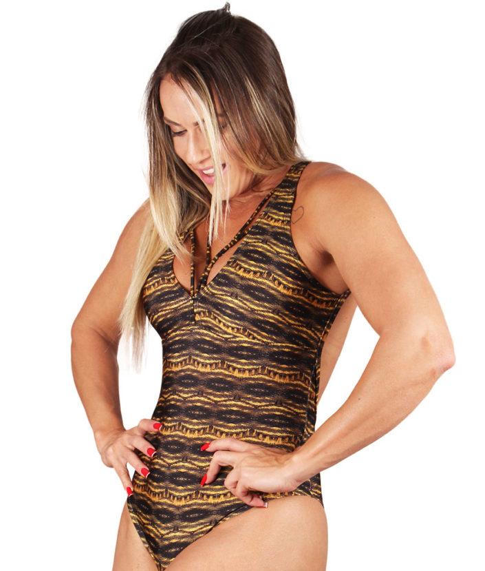 BODY FEMININO STRAPY ESTAMPA TIGER 3