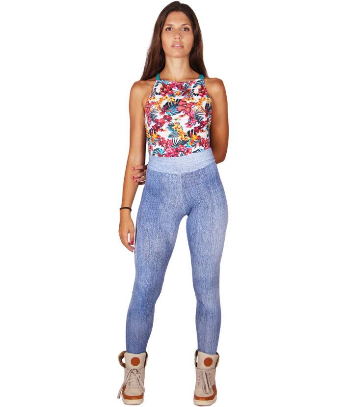 Calça Legging Estampa Fake Jeans