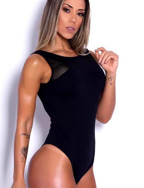 Body Feminino Preto Arrastão Costa Nua