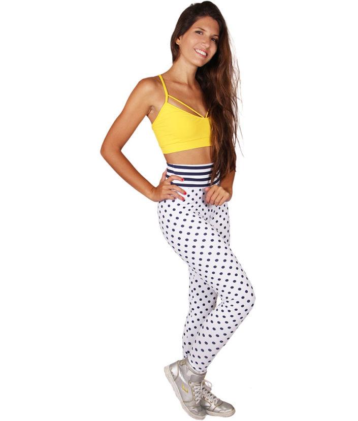 Calça Legging Fitness Poá Cós Listras Azul Marinho 5