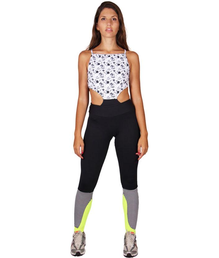 Calça Legging Recorte Preta com Listras 3