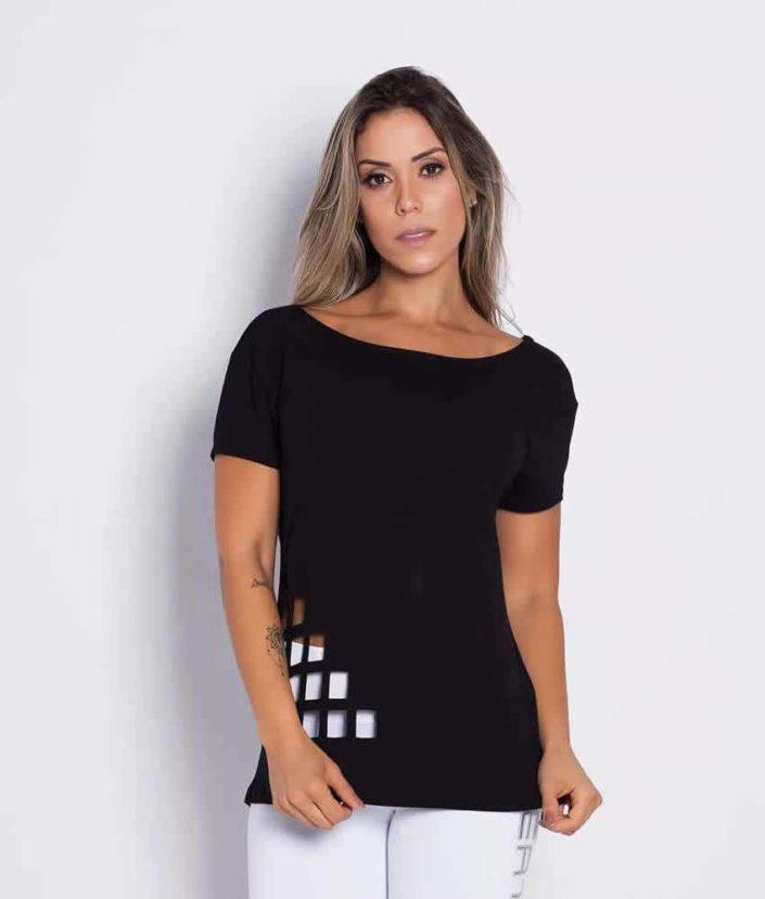 blusa preta recorte laser