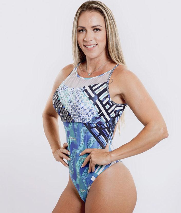 Body Feminino Estampado Blue Peaks Detalhe em Tule