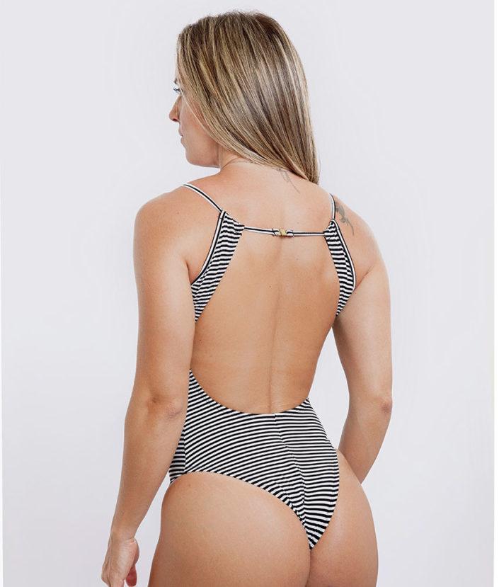 Body Feminino Detalhe em Tule Listrado