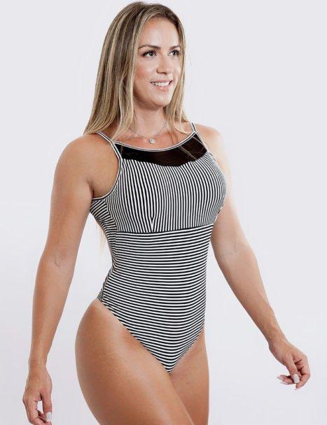 Body Feminino Estampado Detalhe em Tule Listrado