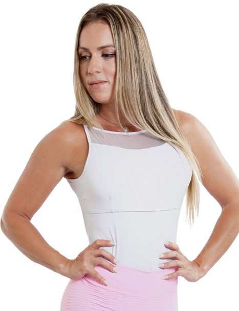 Body Feminino Liso Branco Detalhe em Tule