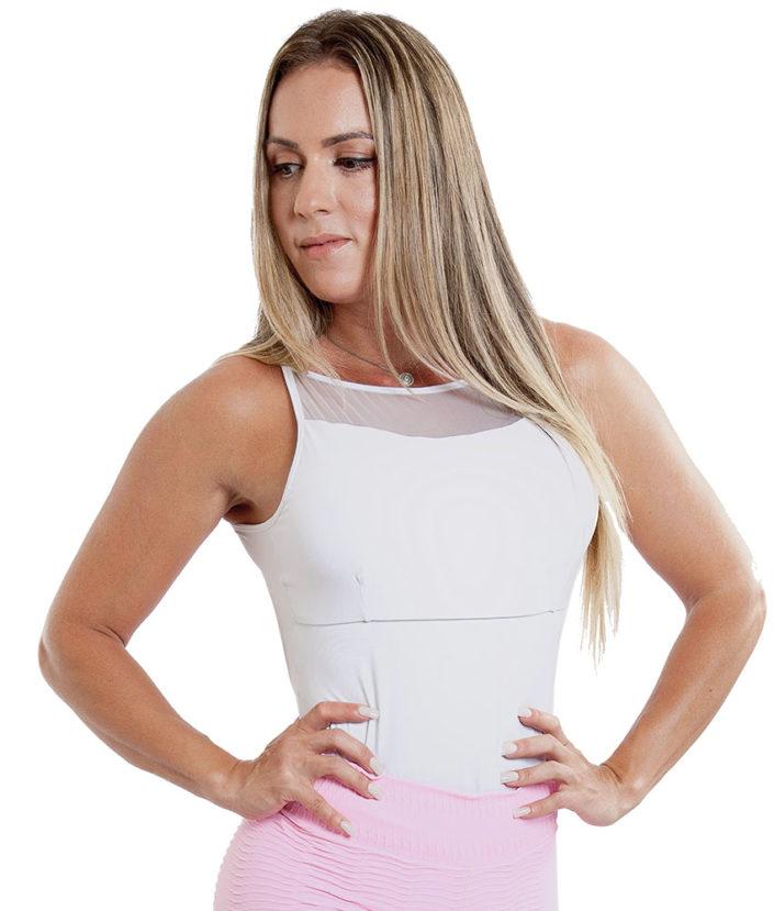 Body Feminino Branco Detalhe em Tule