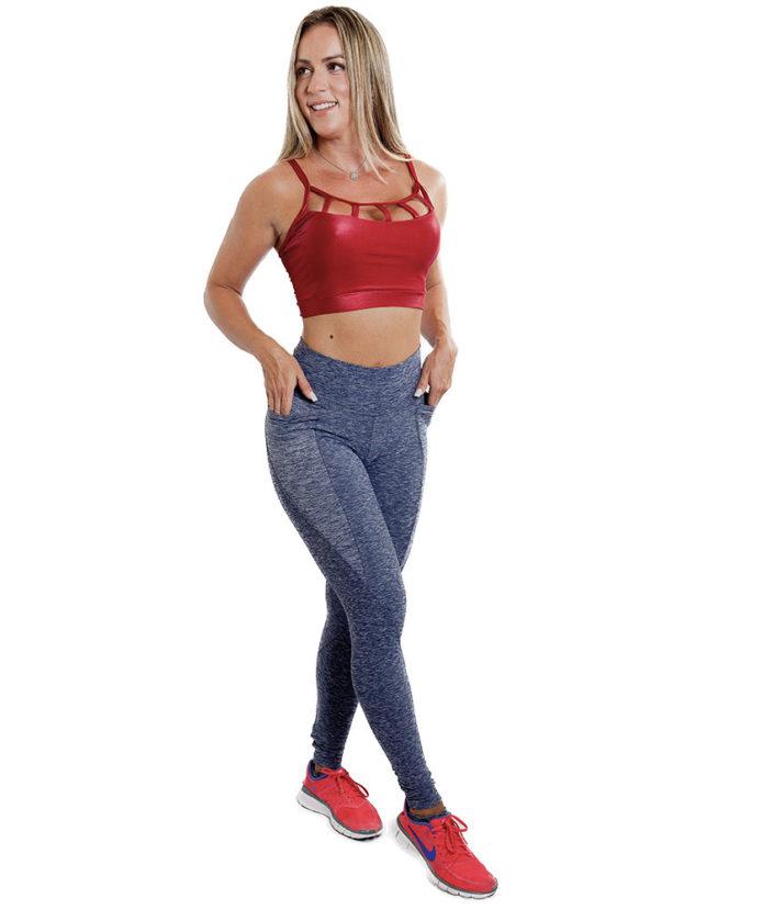 Calça Legging Anatomic Pocket Azul Marinho Mescla - Bolso Lateral