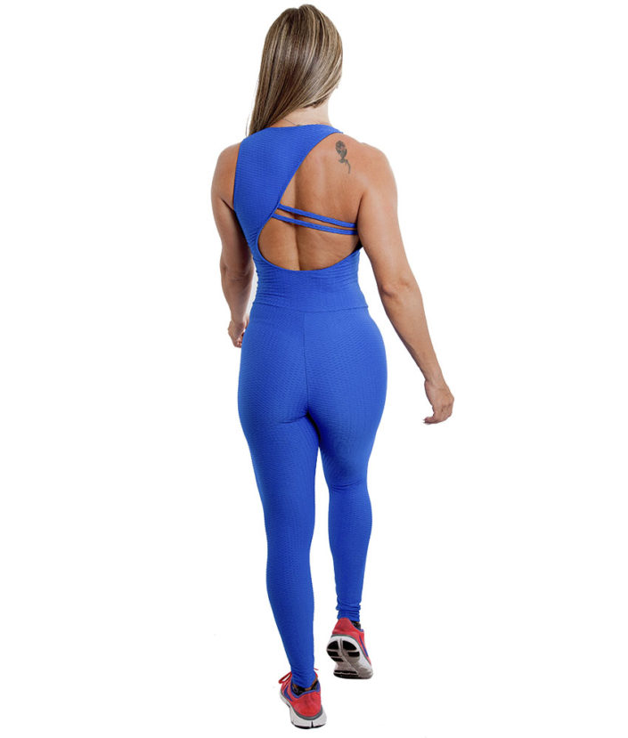 Macacão Fitness Azul Bic Jacquard
