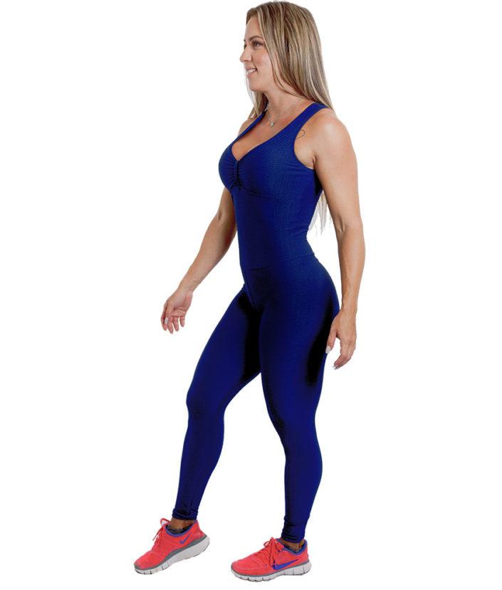Macacão Fitness Azul Marinho Jacquard 3
