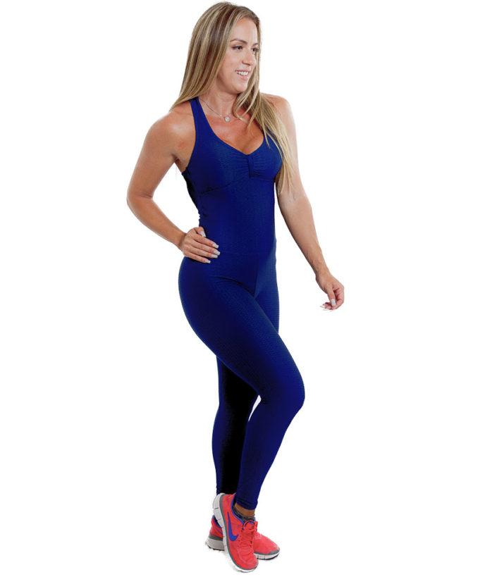 Macacão Fitness Azul Marinho Jacquard
