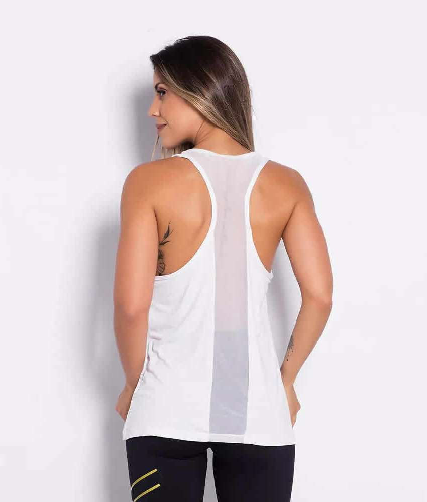 Camiseta Regata Branca Costas em Tule  ba06866c9af