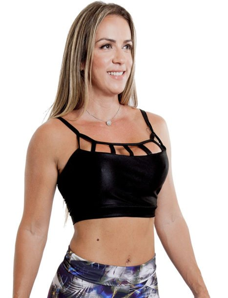 Top Cropped Cirre Preto Strapy