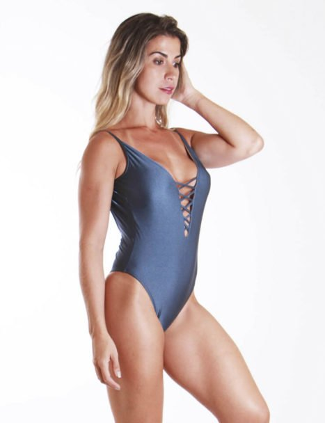 Body Feminino Cavado - Luxo Azul