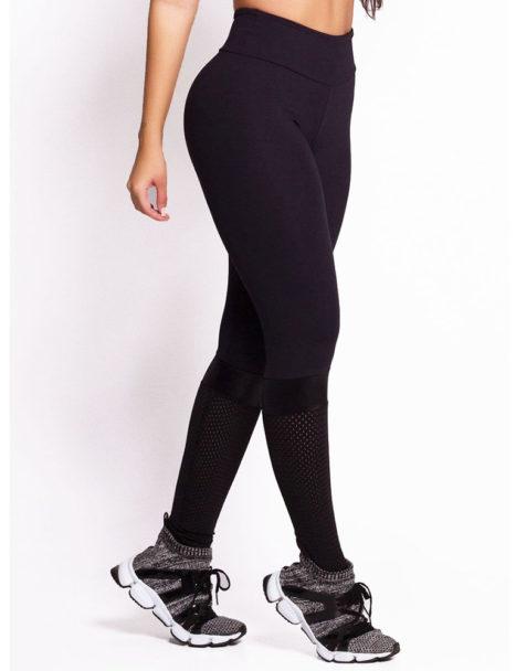 Calça Legging Preta Suplex Detalhe em Tela bf54adbe0cb