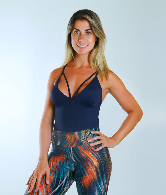 Body Feminino Strapy Azul Marinho 6