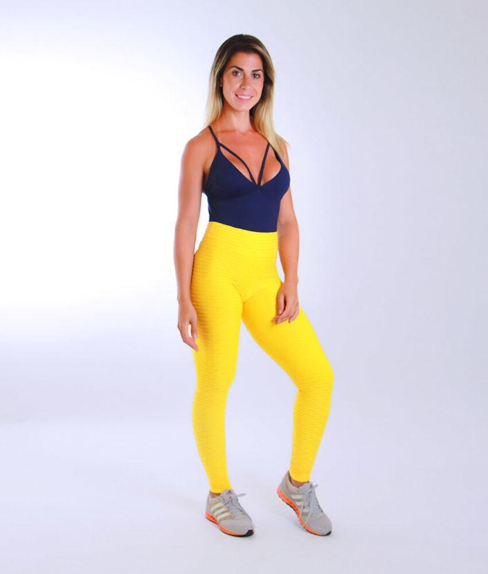 Calça Legging Jacquard amarela (1)