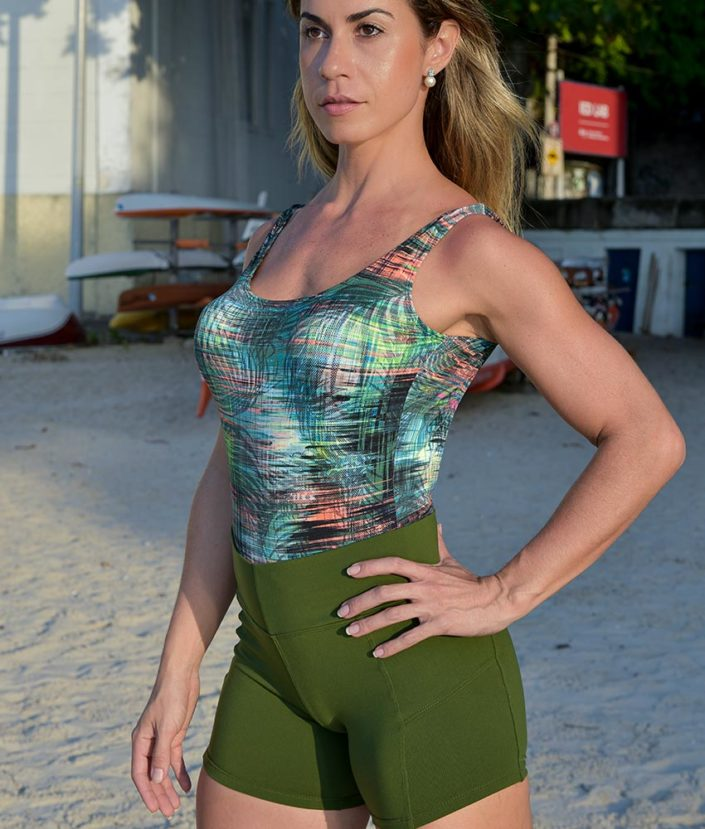short fitness cross verde militar - tropical collection 2