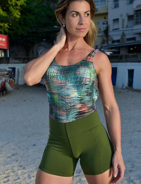 short fitness cross verde militar - tropical collection