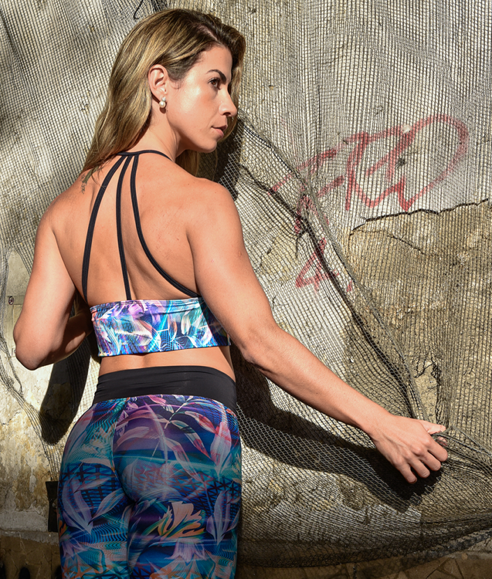 top cropped strapy alça bojo neon flowers collection 2