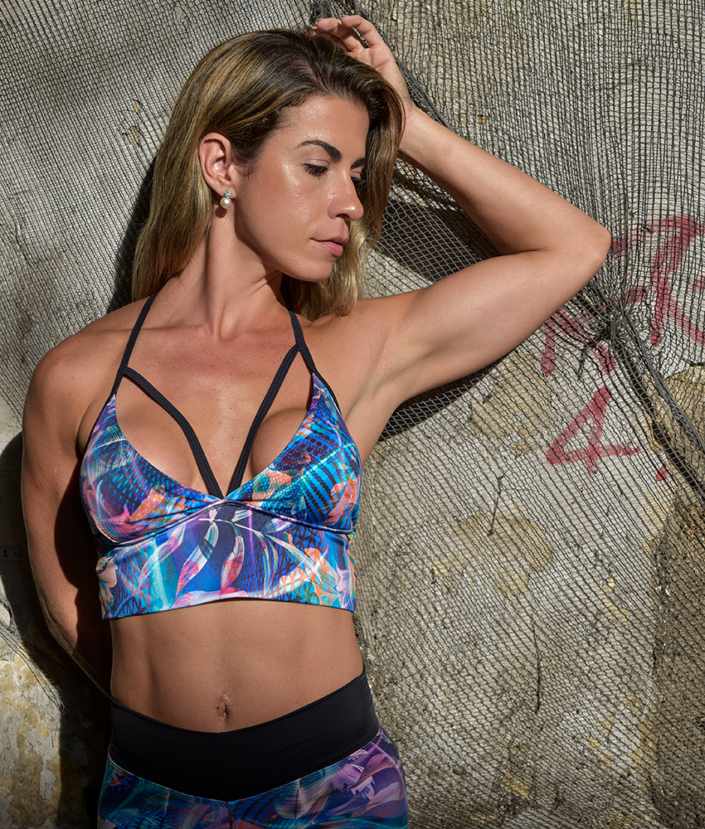 top cropped strapy alça bojo neon flowers collection
